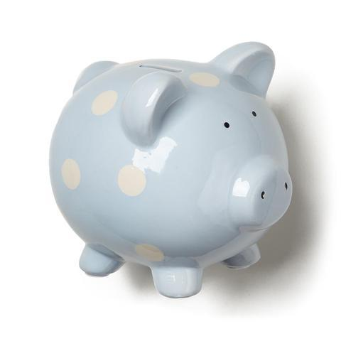 Classic Baby Blue Piggy Bank With Polka Dots
