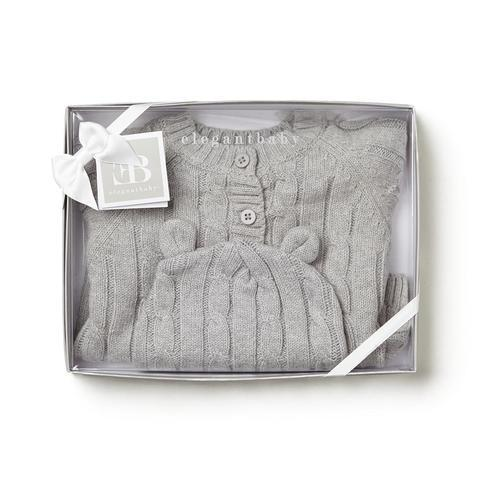 Cable Knit Hat & Sweater Set In Grey