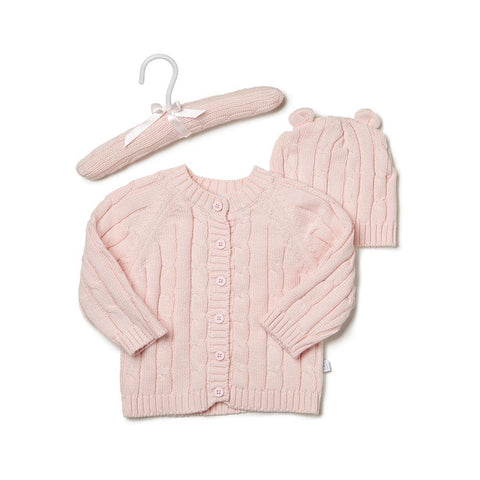 Pink Cotton Cable Knit Sweater And Hat Set For Baby