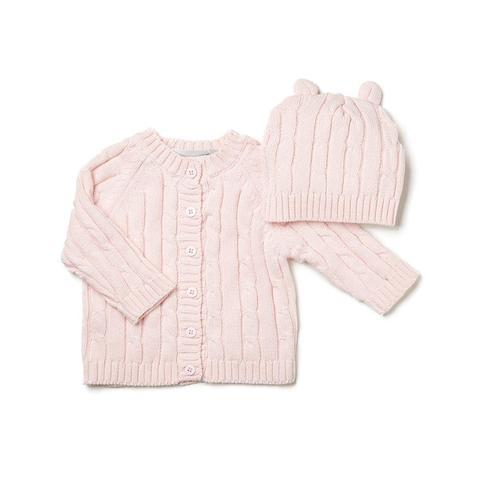 Cable Knit Hat & Sweater Set In Pink