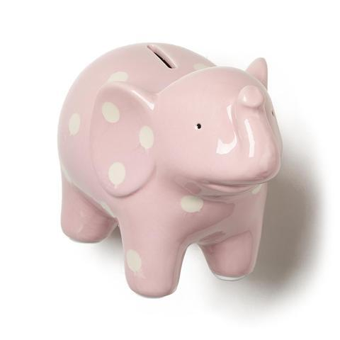 Elephant Ceramic Bank In Pink With White Polka Dots
