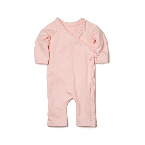 Organic Cotton Coverall In Pink For Baby