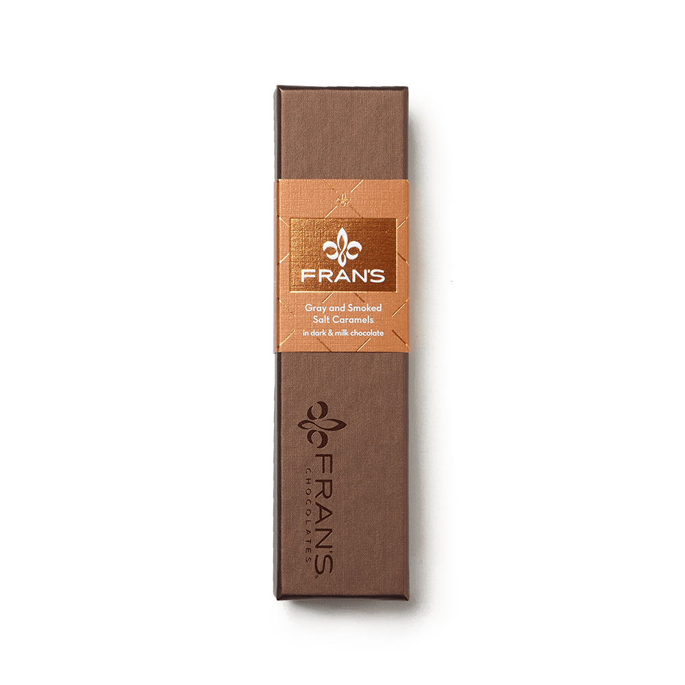 Fran's Chocolates Gray Salt Dark and Smoked Salt Milk Chocolate Caramels