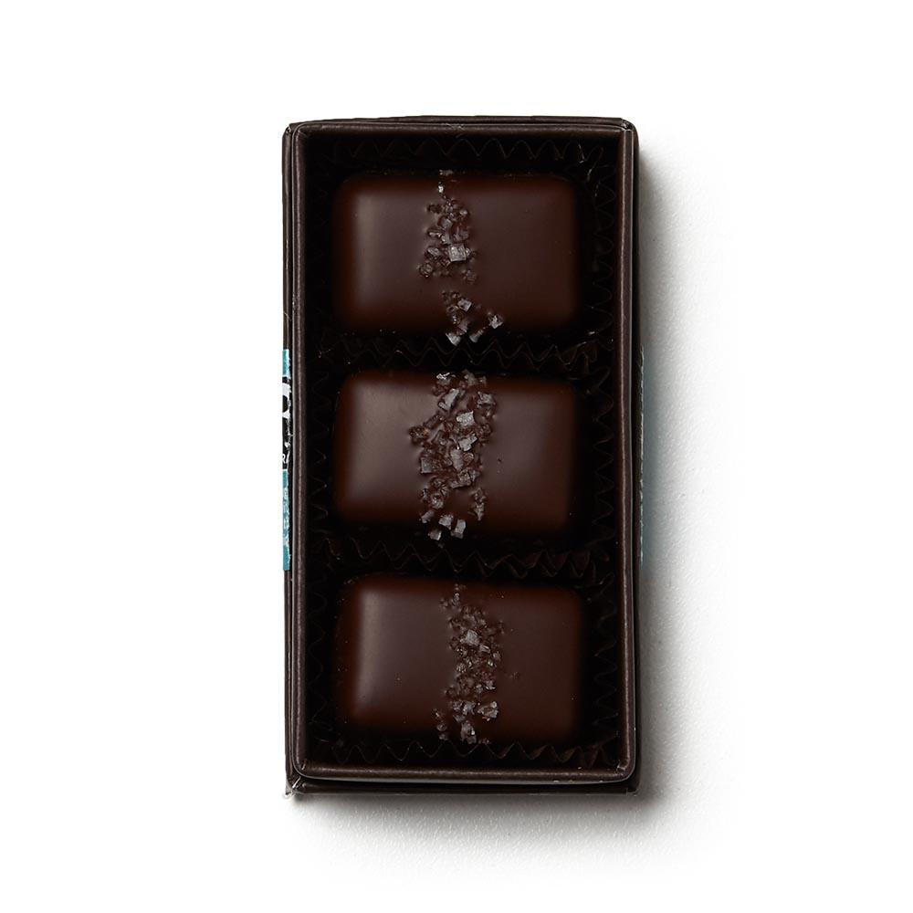Gray Salt Dark Chocolate Caramels - 3 Piece Box