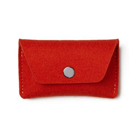 Flat Felt Card Case In Red