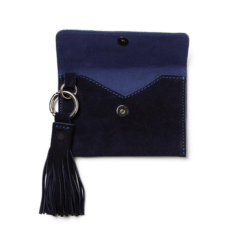 Mer-Sea Travel Luxe Navy Suede Passport Clutch