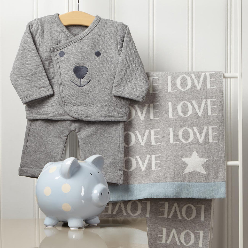 Cozy Nursery Gift Set With Piggy Bank