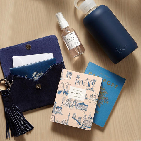 Passport Clutch With Water Bottle And Journal Gift Set