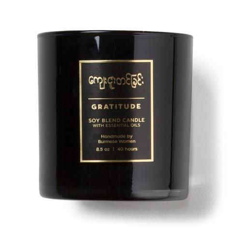 "Burmese Gratitude Candle, 3"" h x 3"" w, burn time: approx. 40 hours"