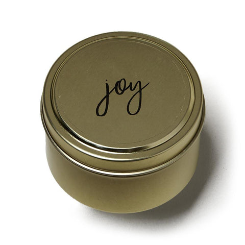 Joy Celebration Tin Candle