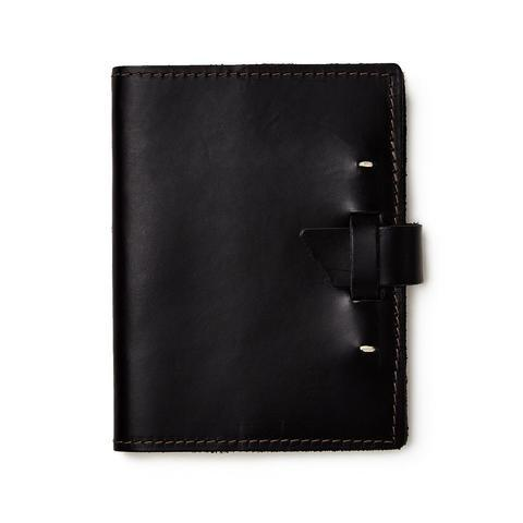 Rustico Wasatch Leather Notebook Cover With Journal In Black