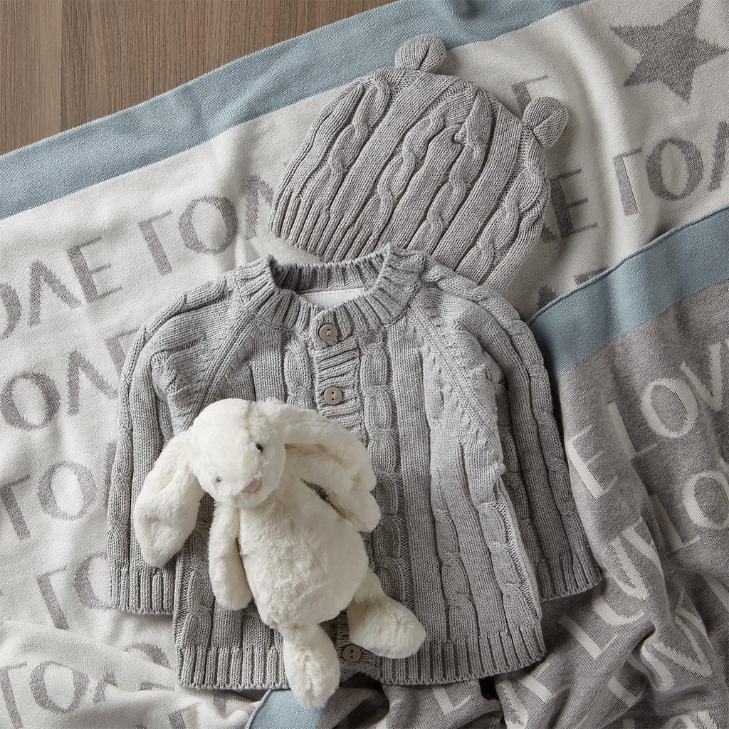 Sleepy Time Sweater Set And Blanket With Bunny Toy Gift Set