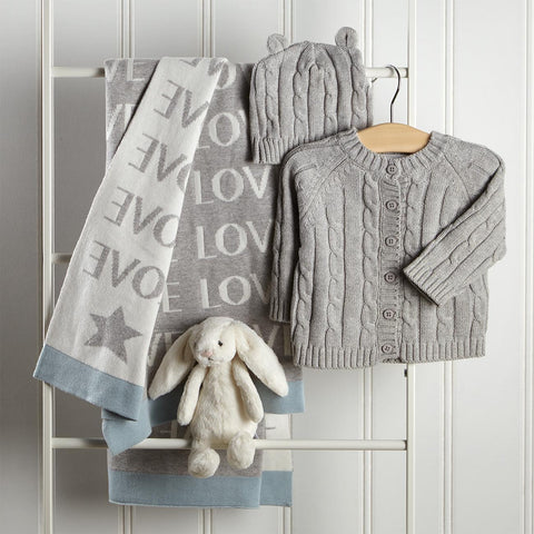 Nap Time Sweater Set And Blanket With Bunny Toy Gift Box