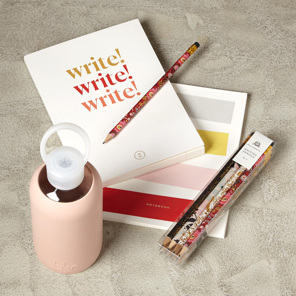 The Write Stuff Gift Set with 2 Journals, Pencils and Water Bottle