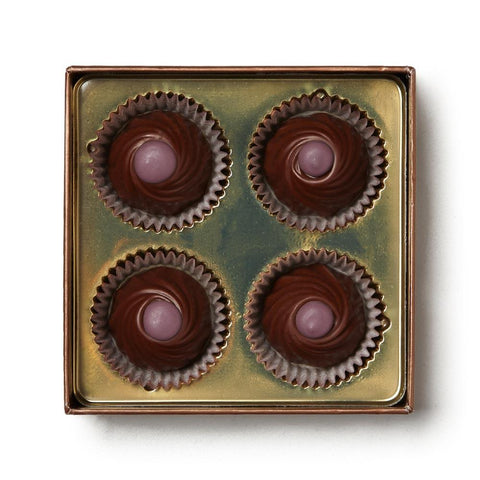 Torn Ranch Cabernet Wine Truffles, 2 oz, 4 truffles (shown with box lid removed to see chocolates)