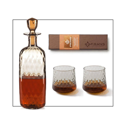 Whiskey Decanter And Glasses Gift Set Complete With Fran's Chocolate