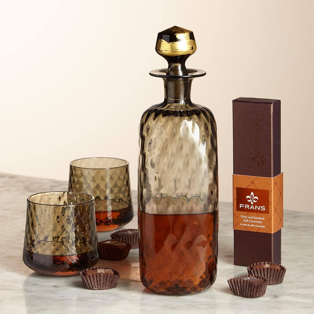 Whiskey Decanter And Glasses Gift Box Complete With Fran's Chocolate