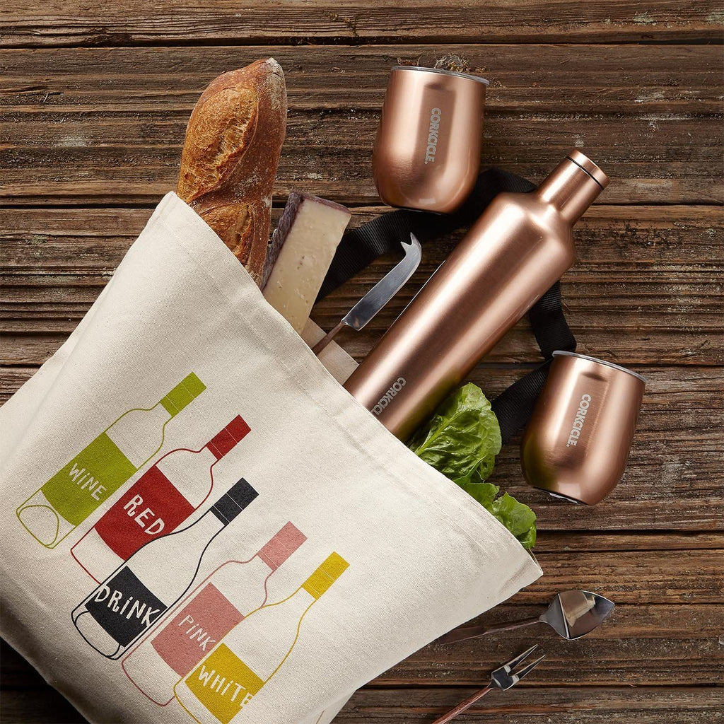 Corkcicle Canteen And Lidded Cups With Wine Tote Bag Gift Set