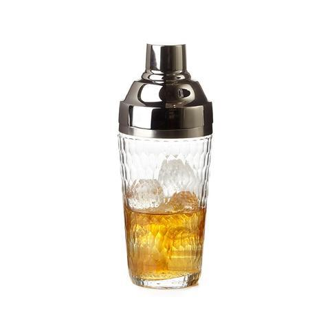 Hammered Glass Cocktail Shaker In Silver