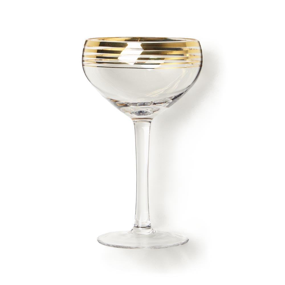 Zodax Sardinia Champagne Coupe Glasses with Gold Trim, 6 oz