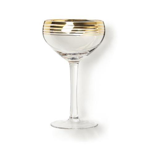 Gold Trimmed Cocktail Coupe Glass