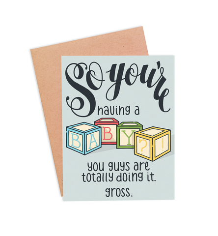Funny Baby Card - Doin' It - PaperFreckles