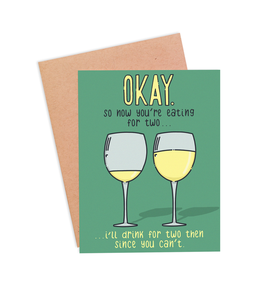 Drinking For Two Pregnancy Card - PaperFreckles