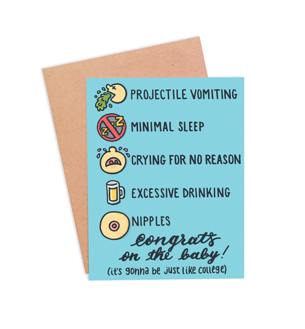 Just Like College Pregnancy Card - PaperFreckles