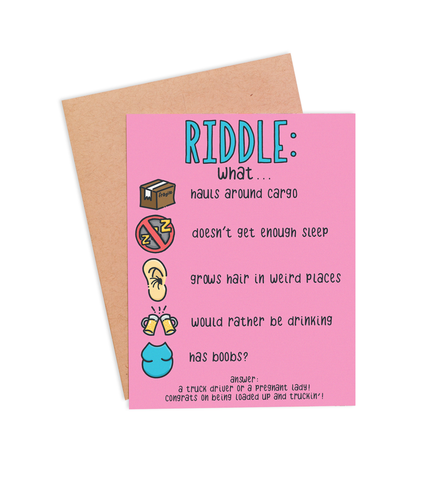 Trucker Riddle Pregnancy Card - PaperFreckles