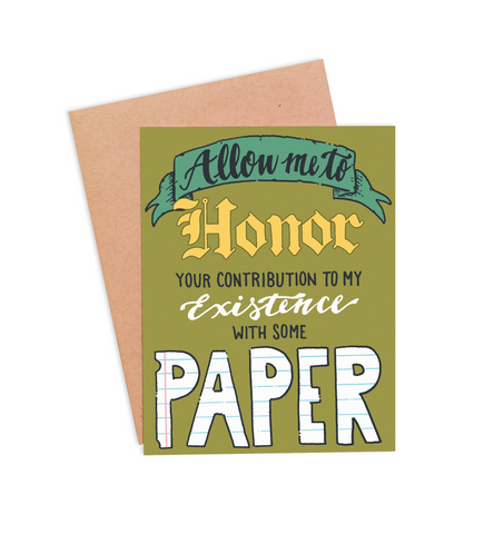 Honor You With Paper Mother's / Father's Day Card - PaperFreckles