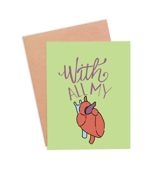 With All My Heart Valentine's Card - PaperFreckles