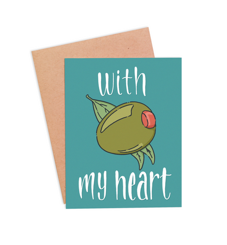With Olive My Heart Valentine's Card - PaperFreckles