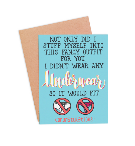 No Underwear Congratulations Card - PaperFreckles