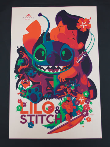 Cyclops Print Works Print #04V: Lilo & Stitch Sunset Variant Edition by Tom Whalen