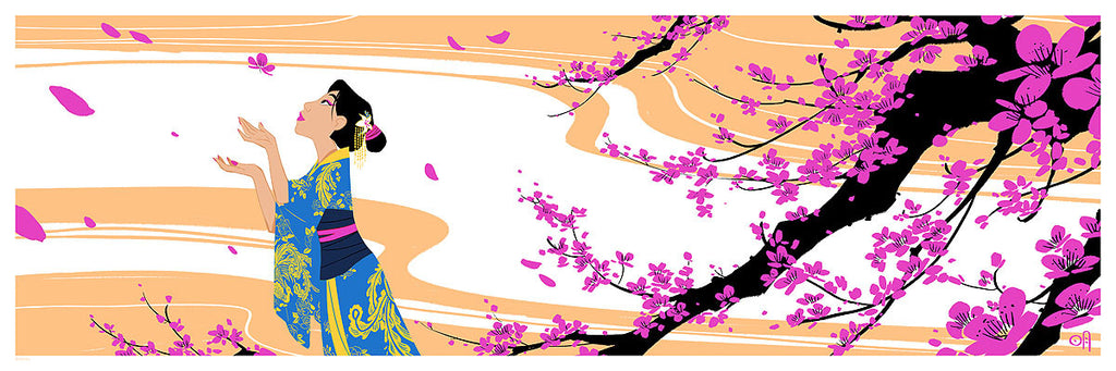 Cyclops Print Works Print #23V: Cherry Blossoms Sunset Variant Edition (Mulan) by Mingjue Helen Chen