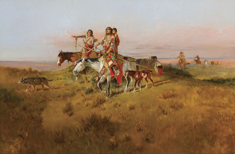 Charles M. Russell (1864–1926), Following the Buffalo Run, c. 1894, oil, 23 1⁄8 x 35 inches.