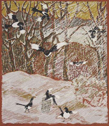 yellowstone art museum, jessie wilber magpies in snowstorm, montana living