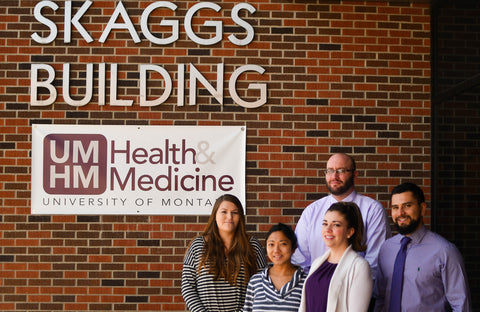 Caption: The 2016-2017 Skaggs Scholars at the Skaggs School of Pharmacy at the University of Montana. From left to right: Shelby Cole, Nancy Wilson, Ty Moe, Kyla Tripp and Jason Palacio.   Photo credit: Will McKnight.
