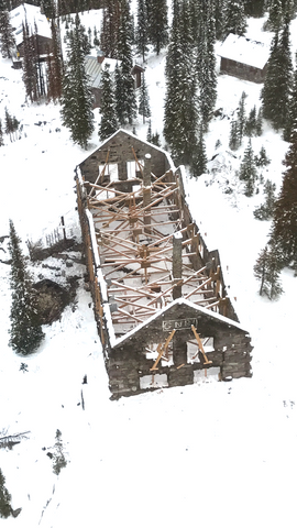 Sperry Chalet aerial in Glacier National Park winter helicopter montana living.com