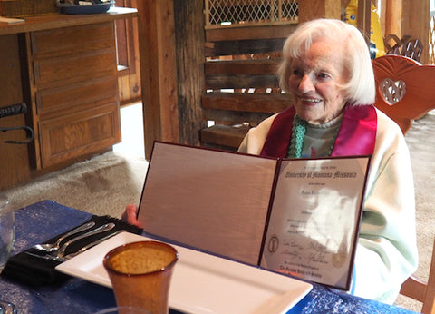 paula o'neil, 98 year old woman graduates university of montana, missoula, montana living