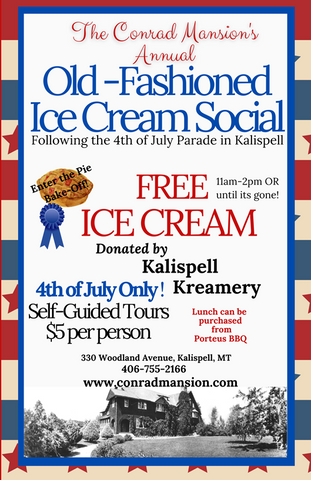 fourth of july 4 events in kalispell montana 2021, conrad mansion historic mansion kalispell, montana living, free ice cream, porteus bbq barbecue, Montana state old time fiddlers