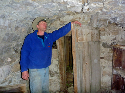 Exploring an old  mining cabin along  Belt  Creek.