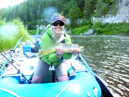 Della Littfin with big brown trout Belt Creek