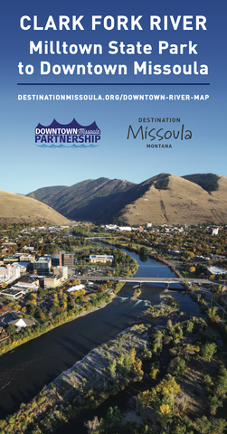 downtown missoula clark fork river guide map, montana living
