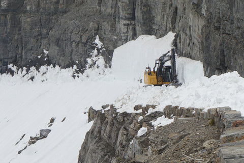 cliff, glacier park plowing snow going to the sun road, montana living, bulldozer