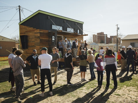 Students and faculty from the School of Architecture at Montana State University host an open house for the first prototype small home for HRDC'S Housing First Village, Thursday, May 3, 2018, at Family Graduate Housing on campus, in Bozeman, Mont. MSU Photo by Adrian Sanchez-Gonzalez