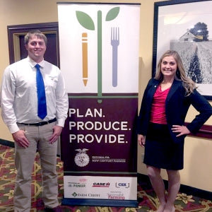 Kyle Mitchell, a senior from Malta majoring in animal science in MSU's College of Agriculture, and Gwynn Simeniuk, an MSU alumna from Glasgow who earned dual degrees in agricultural education and animal science this spring, participated in the 2017 New Century Farmer conference held in Johnston, Iowa in July.