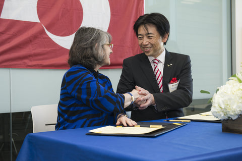 <em>Montana State University President Waded Cruzado, left, and Mifune, Kumamoto, Japan mayor Masayuki Fujiki sign an agreement of understanding between MSU and the town of Mifune Wednesday, May 10, 2017 in Bozeman, Mont. MSU photo by Kelly Gorham</em>