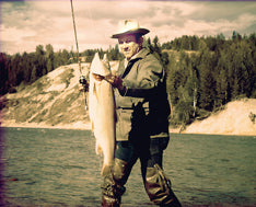 lou kis with bull trout on north fork flathead river