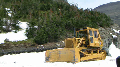 glacier park plowing snow going to the sun road, montana living, bulldozer